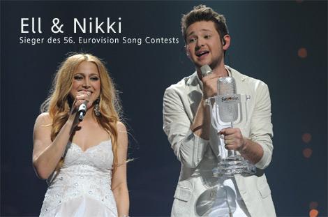 ESC 2001 Gewinner Ell & Nikki aus Aserbaidschan auf der Bühne in Düsseldorf
