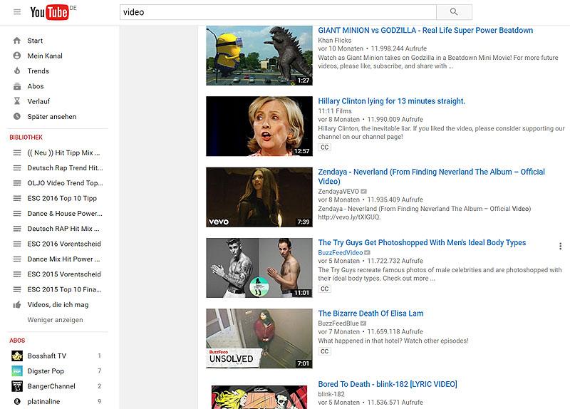 Youtube Suche